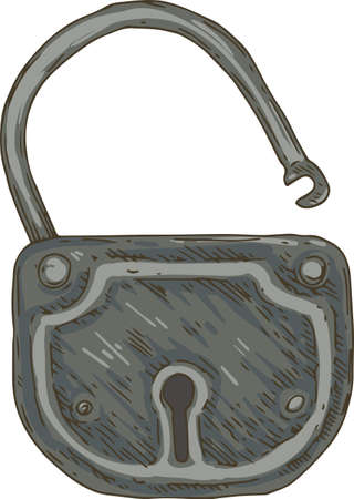 Vintage Brass Padlock. Isolated on White Background. Ilustrace