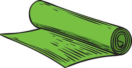 Green Neoprene Yoga Mat Isolated on White Background 版權商用圖片 - 146921016