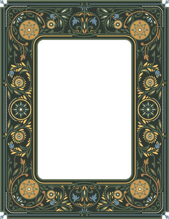 Victorian Floral Frame. Empty Space in the Centre. Book Cover Template