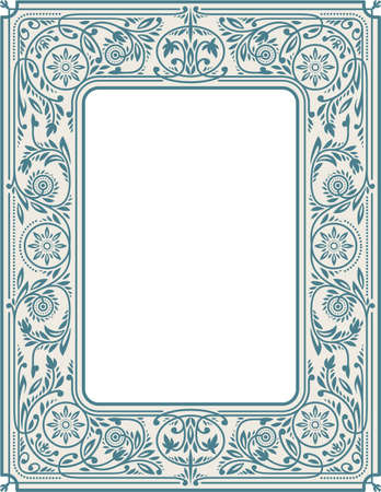 Retro Floral Border or Frame Stockfoto - 149384243