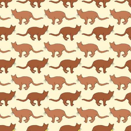 Brown Cats Seamless Pattern