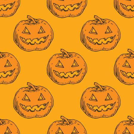 Seamless Orange Pattern. Pumpkins for Halloween Ilustração