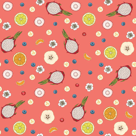 Seamless Pattern with Berries and Fruits