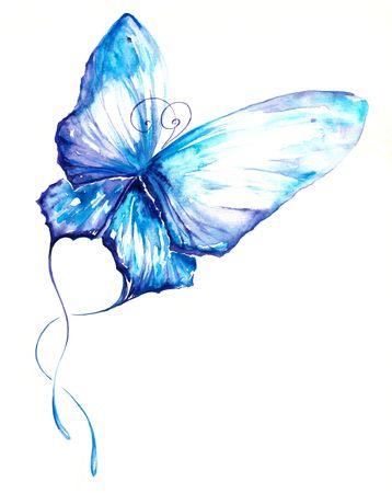 Acuarela de mariposa azul pintado.  Foto de archivo