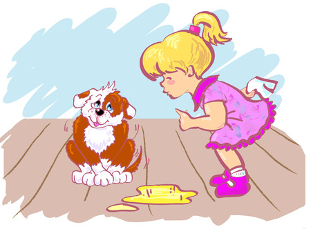 Girl training her puppy which made pee in room.