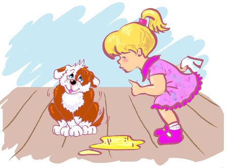 Opleiding van haar puppy die plassen in kamer meisje.