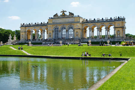 the gloriette: Gloriette in Schoenbrunn Palace park-Vienna,Austria. Stock Photo