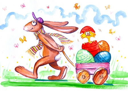 Easter bunny with trolley full of easter eggs Picture painted with watercolors  Stock Photo - 18134887