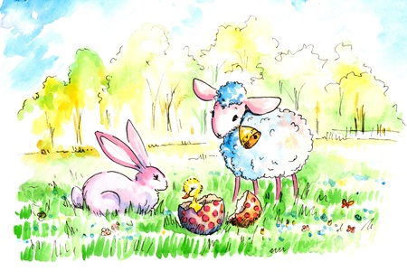 Lamb and bunnywith colorful eatsre egg ona meadow  Stock Photo