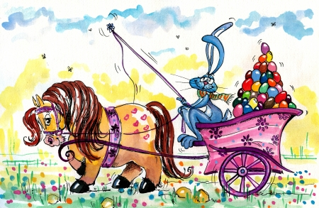 Pony carrying coach with Easter Bunny and Easter eggs Picture I have created with watercolors