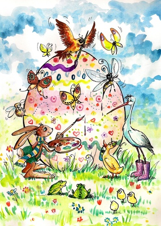 Animals painting together giant easter egg  photo