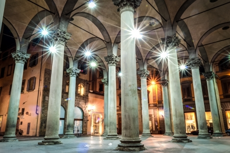 lorenzo: Night shot of San Lorenzo Markets,Florence, Italy  Editorial
