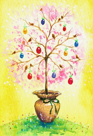 Easter flowering tree with eggs and birds growing in pot Picture painted with watercolors  photo