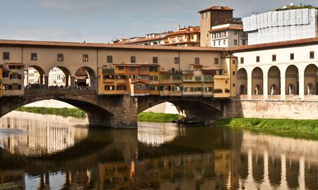 Detail of Ponte Veccio over Arno river in Firenze, Italy photo