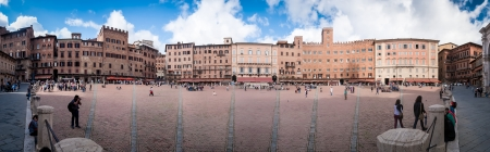 sienna: SIENA, ITALY - OCTOBER 2, 2012: World famous square Piazza del Campo in Siena, Italy. This is the square where the horse race Palio is being held annually.