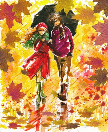 wellingtons: Couple walking at alley in autumn park Stock Photo