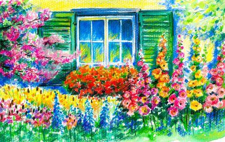 Floraci�n jard�n con ventana en segundo plano Foto de archivo