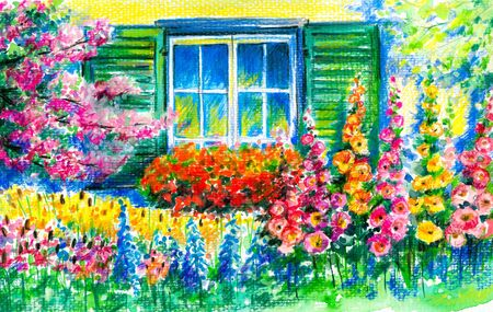 Flowering garden with window in background