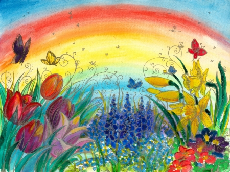 Spring background with colorful flowers:tulips,narcissus,grape hyacinth and rainbow in background. photo