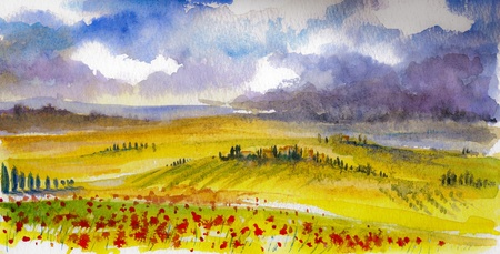 Land landschap met typische Toscaanse heuvels in Italië. Watercolors schilderij. Stockfoto