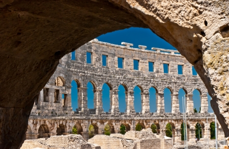 The old amphitheatre in Pula - Croatia Stock Photo