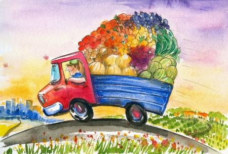 De tuinman levert vroeg in de ochtend verse groenten naar de stad Stockfoto