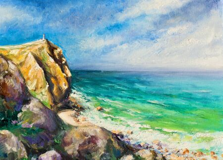 Sea landscape, painting by oil on a canvas   photo