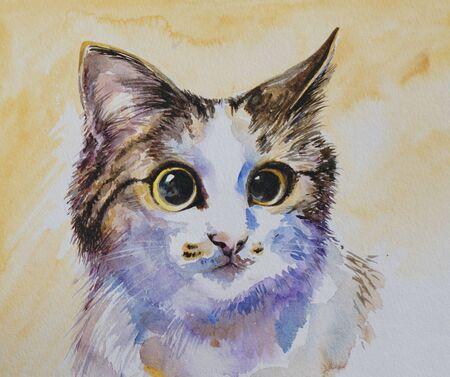 Cat portrait watercolor painted  photo