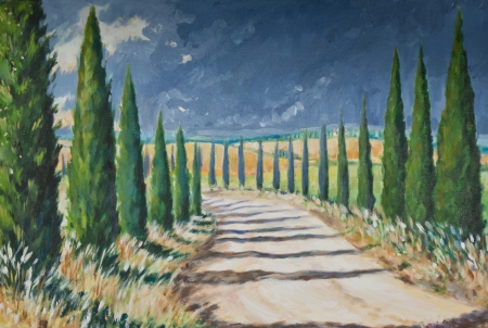 tuscany landscape:  Tuscany landscape acrylic painted  Stock Photo