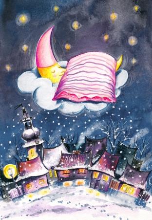 Maan slapen op een wolk in een winternacht Beeld gemaakt met aquarellen