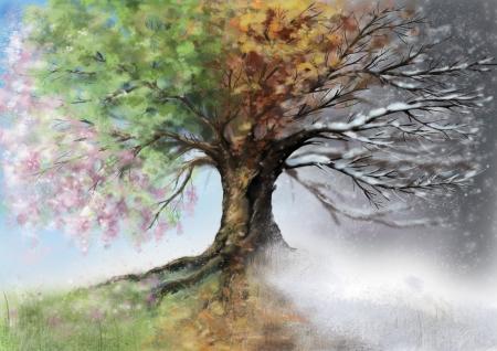 Digitale illustratie van vier seizoen boom