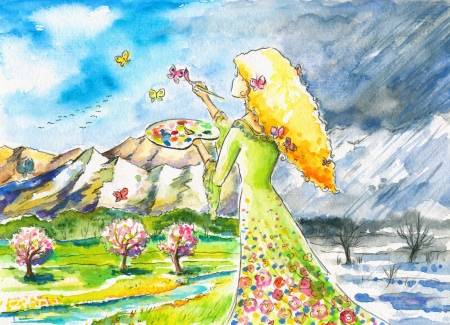 watercolor blue: Mrs Nature painting landscape in new,spring colors