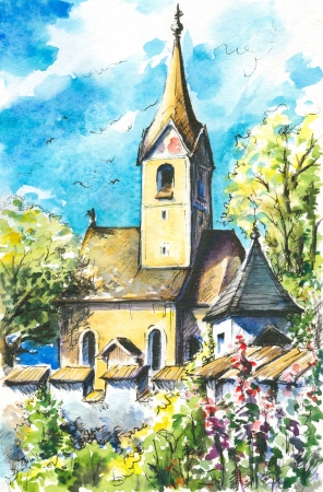 Paisaje de verano con la iglesia vieja, peque�a