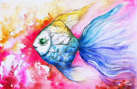 Colorful fish on pink background watercolor painted