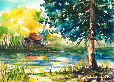 Acuarelas pintadas paisaje casa cerca del lago
