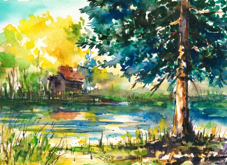 Watercolors painted landscape -house near the lake