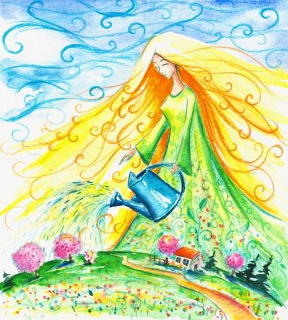 Mevrouw Spring drenken haar tuin Beeld gemaakt met aquarellen