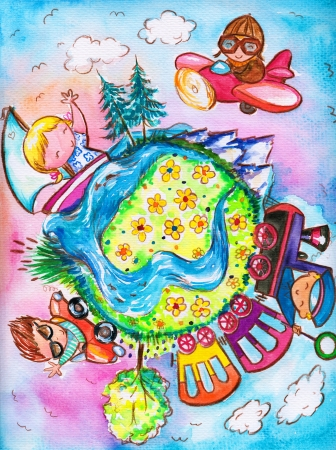 Children traveling around the world Picturecreated with watercolors