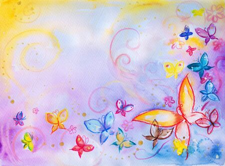 Hand painted background with flowers and butterflies Picture created with watercolors  photo