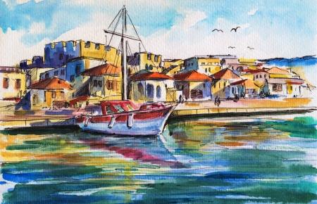 Zomer landschap met zeilboot in de haven Foto gemaakt met aquarellen