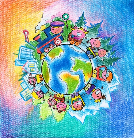 Children traveling around the world Picturecreated with watercolors  Banque d'images