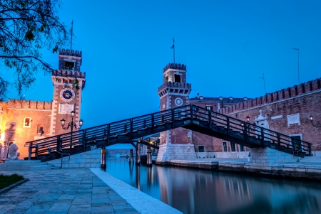 View of the Arsenale in Venice at twighlight,Italy