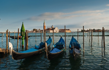 Gondolas and San Giorgio Maggiore church on Grand Canal in Venice  photo