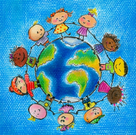 glob: Children of different races hugging the planet Earth  Picture created with colored pencils