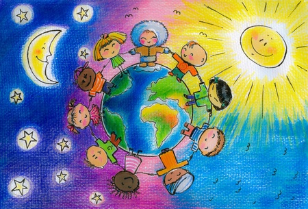 Children of different races hugging the planet Earth  Picture created with watercolors and colored pencils