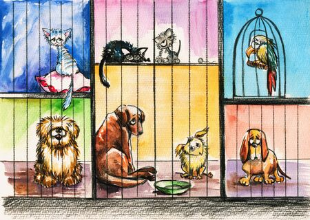refuge: Sad animals in the pound Picture created with watercolors