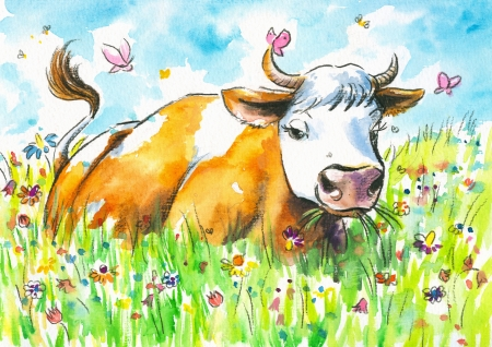 Cow on a field watercolor painted   Stock Photo