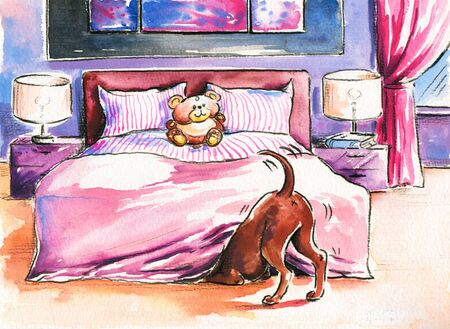 Brown dog in bedroom Picture created with watercolors  Stock Photo