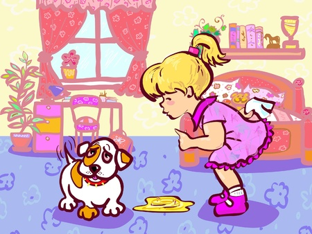 Girl training her puppy which made pee in room Stock Vector - 18659049