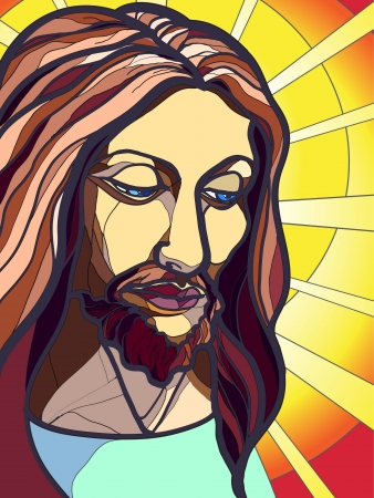 church interior: Illustration of Jesus Christ in stained glass